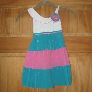 Girls Youngland Pink/White/Teal Dress